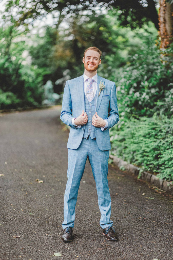 coloured and patterned suit for groom style inspiration